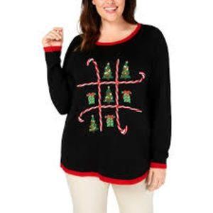 Karen Scott Candy Cane Ugly Christmas Sweater
